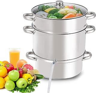 Giantex 11 Quart Juice Steamer Fruit Vegetables Juicer Steamers w/Tempered Glass Lid, Hose, Clamp, Loop Handles Stainless Steel Steam Juicer Multipurpose Home Kitchen Cookware for Making Juice, Jelly