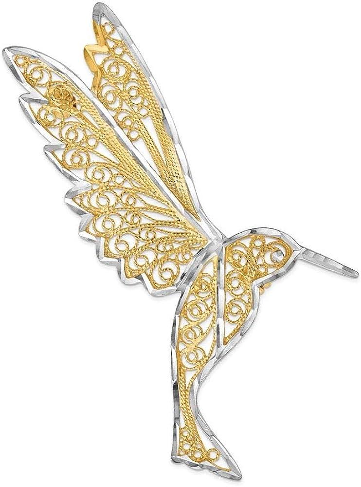 14K White And Yellow Gold Diamond Cut Filigree Hummingbird Pin Brooch