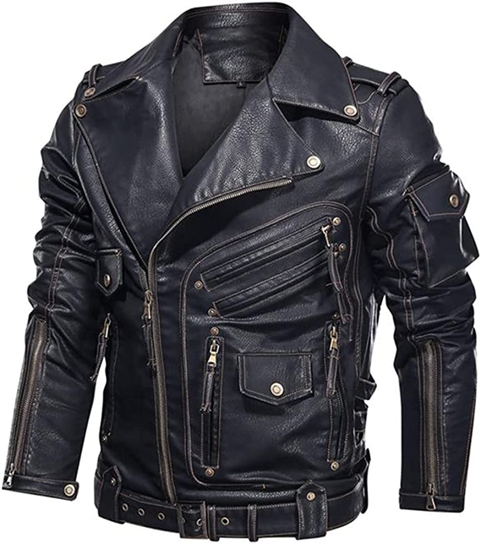 Mens Leather Jacket Motorcycle PU Leather Jackets Cool Zipper Pockets Faux Leather Coats
