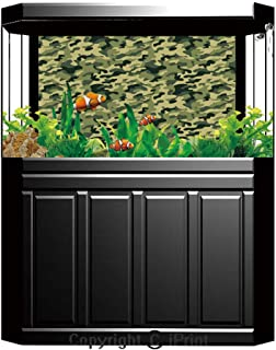 Aquarium Fish Tank Background,Camouflage,Army Clothing Motif with Pale Color Splashes Abstract Military Patterned Image Decorative,Green Yellow,Decor Paper Green Water Grass Aquatic Style Like Real,W2