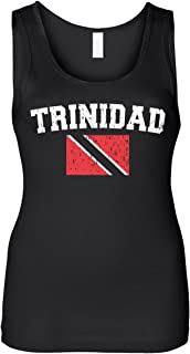 Cybertela Women's Faded Distressed Trinidad Flag Slim Fit Tank Top
