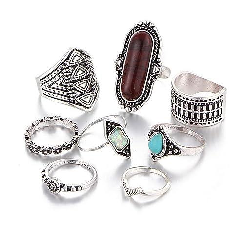 209987bcf Hanloud Vintage Knuckle Ring Set Boho Arrow Moon Turquoise Crystal Midi Finger  Ring for Women