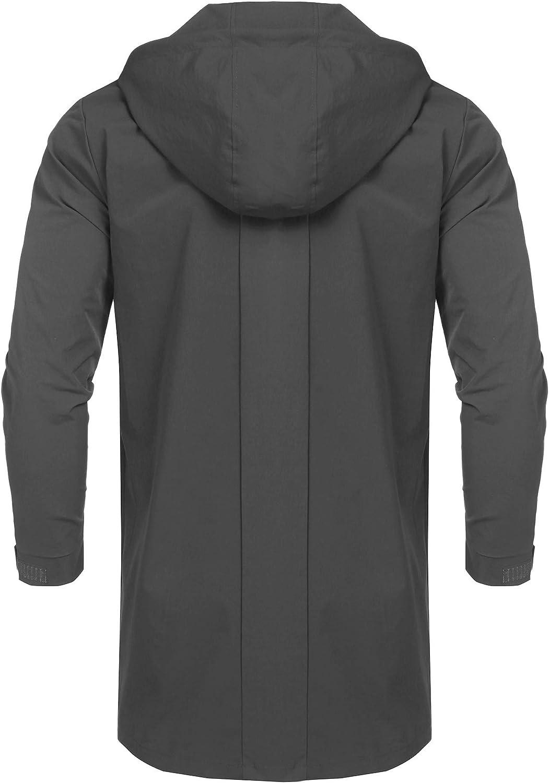 URRU Men's Waterproof Raincoat Hooded Windbreaker Lightweight Long Rain Jacket Active Outdoor Trench Coat S-XXL