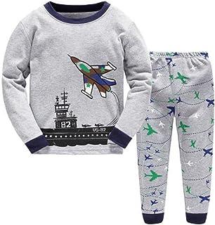 Babyfashion 綿100% 子供パジャマ ルームウェア キッズ  女の子 男の子 上下セット 飛行機柄  長袖  寝巻き ボーイズ ガール 女児 男児 ベビー  2-7歳