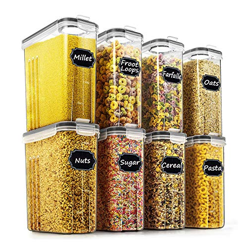 Wildone Lot de 8 récipients hermétiques pour céréales et aliments secs - capacité de 2,5 L pour sucre, farine, etc - couvercles anti-fuites noirs