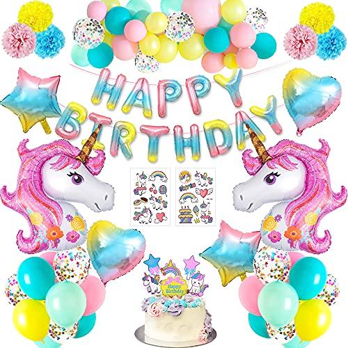 Addobbi Compleanno Bambina Decorazioni Festa Unicorno,Enormi Palloncini Unicorn Coriandoli in Lattice Banner di Buon Compleanno Cake Topper per Allestimento Compleanno Feste Della Doccia