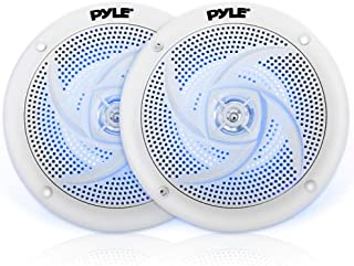 Low-Profile Waterproof Marine Speakers - 240W 6.5 Inch 2 Way 1 Pair Slim Style Waterproof Weather Resistant Outdoor Audio Stereo Sound System w/Blue Illuminating LED Lights - Pyle (White)
