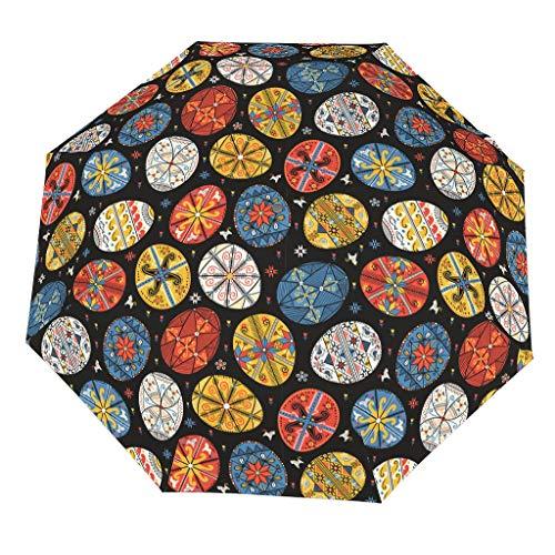 Paraguas plegable de Pascua (3) patrón de estilo europeo estable y eficaz bloqueo de la infiltración del agua de lluvia, fácil de sostener, el mejor regalo para Navidad, White (Blanco) - [pmcc]78213