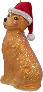 Golden Retriever in a Santa Hat Blown Glass Christmas Ornament 4 Inches