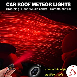 Romantic Auto Roof Stars, Atmosphäre Ambient Star, Romantische Umgebung Mehrere Modi für Auto/Zuhause/Party, Kostenloses 3-in-1-Ladekabel hoher Qualität (Red-Meteor-Shower Vision)