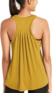 Workout Gym Pleated Tops Yoga Exercise Clothes Racerback Athletic Tank Tops for Women