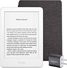 Kindle Essentials Bundle including Kindle, now with a built-in front light, White - Ad-Supported, Kindle Fabric Cover – Charcoal Black, and Power Adapter