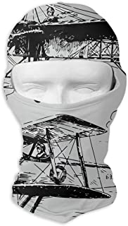 SincerityFirst Balaclava Full Face Mask 1930 Aircraft Sketch Windproof UV Protection Neck Hood Ski Mask for Motorcycle Cycling Outdoor Sports