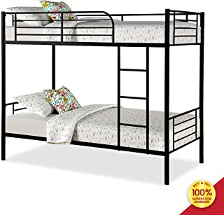 Bunk Bed Frame, Black Finished Metal Twin Bedstock with Ladder and Guardrail, Fits for Universal Single Mattress, Perfect for Adults Children Teenagers