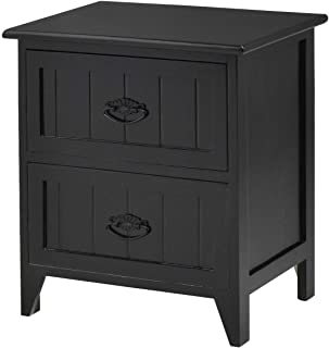 TimmyHouse Storage End Table 2 Drawers Nightstand Wood Bedroom Side Bedside Black