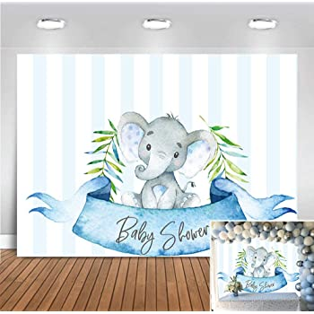 10x8ft Cartoon Cute Calf Elephant Boy Baby Shower Backdrop Vinyl A Sweet Baby Boy is On His Way Photography Background Cute Elephant Bday Party Banner Cake Smash Boy 1st Bday Shoot