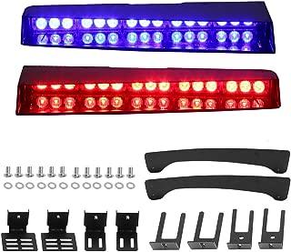 Red Blue Visor Lights, JUEN LIGHTS 30 LED 26 Flash Patterns Emergency Visor Strobe Lights Windshield Interior Split Mount Visor Light Bar with Bracket (Red/Blue)