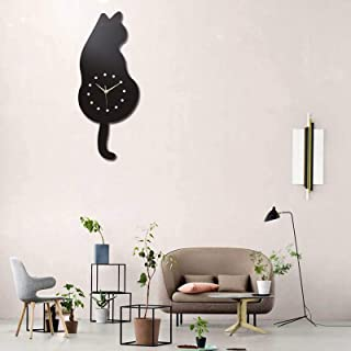 Wall Clock Creative, DIY Cat Acrylic Wall Clock, with Swing Tail Pendulum, for Living Room, Bedroom, Kitchen, Home Décor