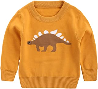 Xifamniy Infant Unisex Babies Sweatshirt Cotton Dinosaur Print Round Neck Knit Tops