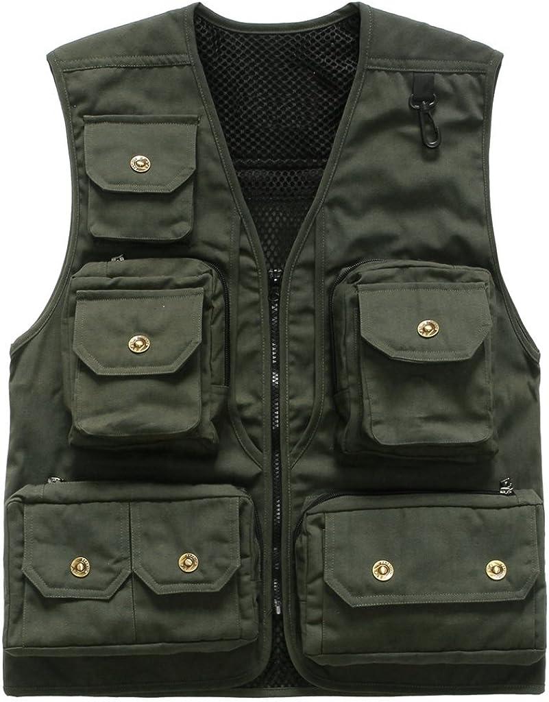 Geval Men's Cotton Multiple Pockets Professional Photography Vest