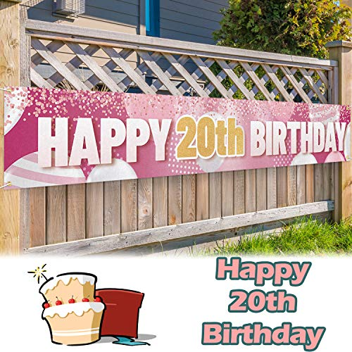 LINGPAR 9.8 x 1.6 ft Large Sign Happy 20th Birthday Banner Gold Pink - Cheers to 20 Years Old Decor