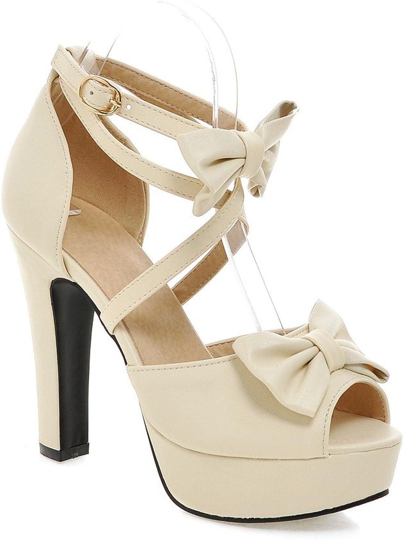 AIWEIYi Womens Sweet Bow Strappy High Heel Dress Sandals Black