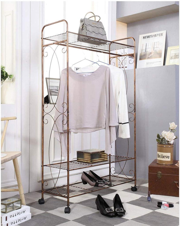 Floor-Standing Coat Rack it can Move Metal Hanger Retro Single Pole Clothing Store 83  30  130cm