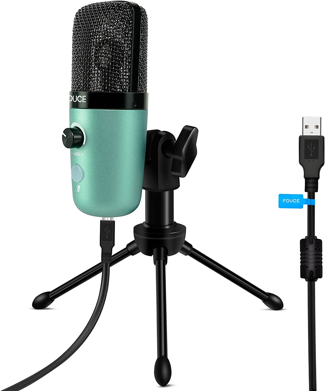 USB Plug&Play Computer Microphone, FDUCE Professional Studio PC Mic with Tripod for Gaming, Streaming, Podcast, Chatting, YouTube on Mac & Windows(Mint Green)