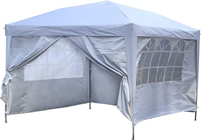 Outdoor Basic 10x10 Pop up Canopy Party Tent Instant Gazebos with 4 Removable Sidewalls White