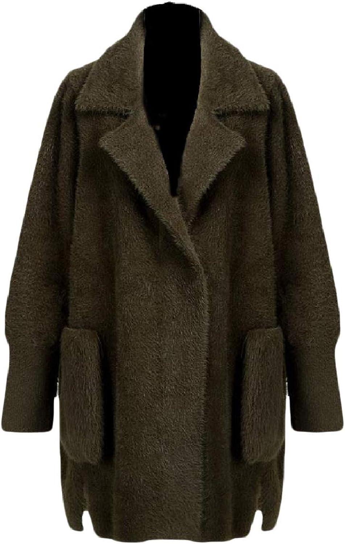 Spodat Women Notch Collar Warm Plush Loose Premium Eco Fleece Pea Coat