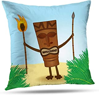 Pakaku Throw Pillows Covers for Couch/Bed 18 x 18 inch, Tiki Man Surf Home Sofa Cushion Cover Pillowcase Summer Gift Decorative Hidden Zipper Cotton and Polyester Blended Soft Touch