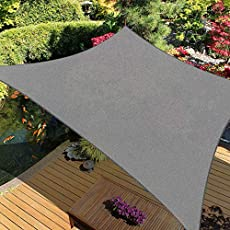 """iCOVER Sun Shade Sail Canopy, 185GSM Fabric Permeable Pergolas Top Cover, for Outdoor Patio Lawn Garden Backyard Awning, 6'6""""x9'10"""", Grey"""