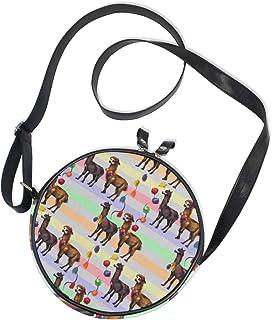 Ahomy Damen-Umhängetasche, rund, Aquarell-Lama, Alpaka, Kreis, Handy, Mini-Umhängetasche, Handtasche