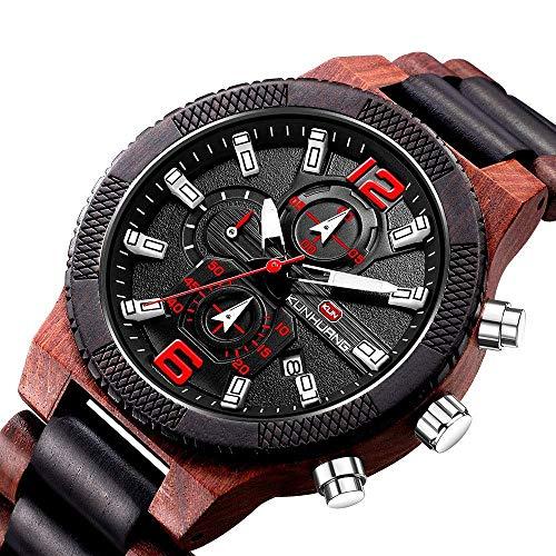 Leyue Wooden Watch-Confortable - Respirant, léger, Meilleur Cadeau de Noël, Affaires Sports Occasionnels Montre Sandal de Sandal Rouge + Hommes de Santal Noir A