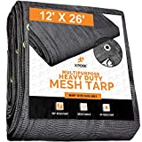 Xpose Safety Heavy Duty Mesh Tarp – 12' x 26' Multipurpose Black Protective Cover with Air Flow - Use for Tie Downs, Shade, Fences, Canopies, Dump Trucks – Tear Resistant