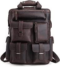 Tiding Mens Retro Full Grain Genuine Leather 17 Inch Laptop Backpack Multi Pockets Large Capacity Shoulder Bag Travel Bag Dark Brown