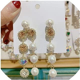 Earring Bling Bling Crystal Heart Long Tassel Drop for Women Elegant Pearl Pendientes