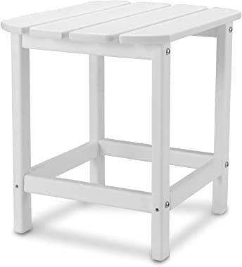 """TRYZS Patio Adirondack Side Table, Outdoor Rectangular End Table 19"""" x 15""""x 18"""", All-Weather Material, Water Proof, Perfect f"""