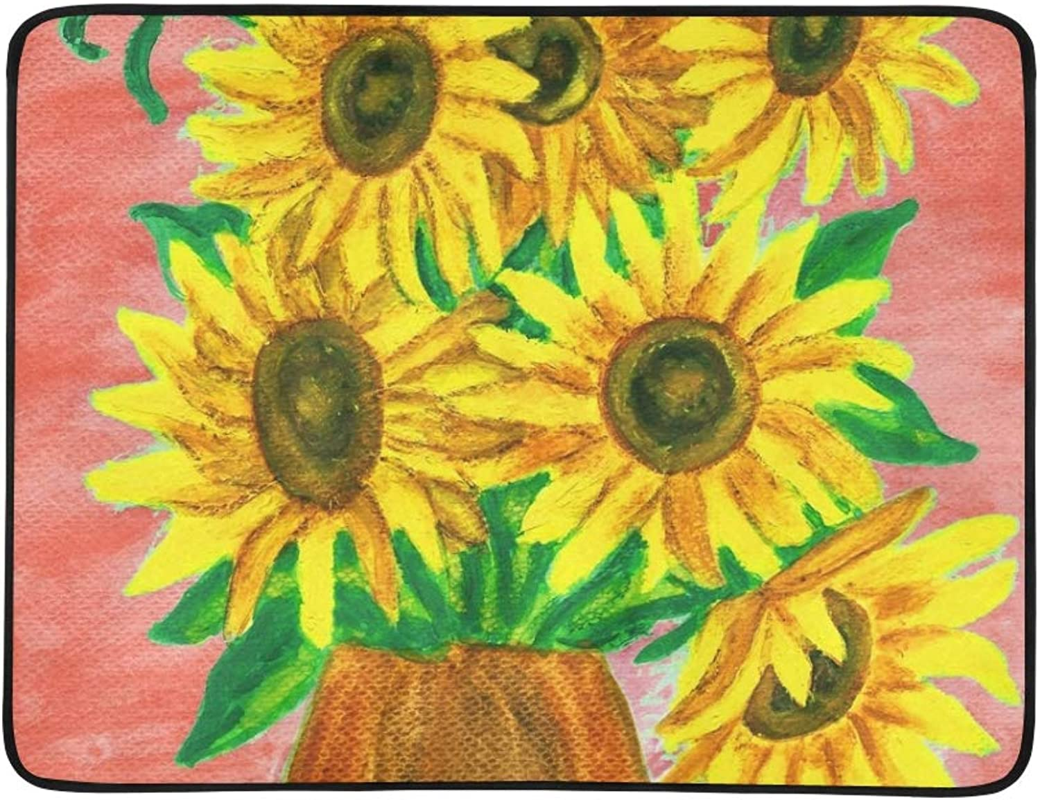 Bouquet Sunflowers Hand Painted Picture Acrylic Portable and Foldable Blanket Mat 60x78 Inch Handy Mat for Camping Picnic Beach Indoor Outdoor Travel