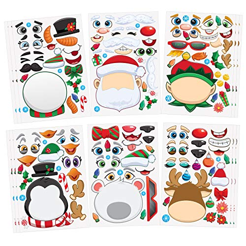 JOYIN 24 PCS Make-a-face Sticker Sheets Make Your Own Characters Mix and Match Sticker Sheets with Christmas Elf, Santa Claus, Snowman, Penguin and Polar Bear Kids Party Favor Supplies Craft