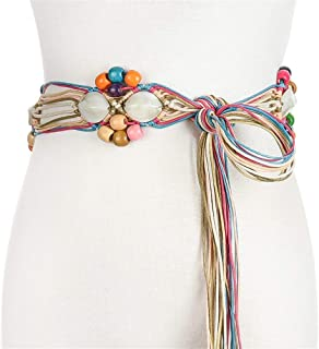 SGJFZD New Fashionable Handmade Wax Rope Woven Wooden Buckle Wooden Beads Belt National Wind Waist Chain Belt (Color : White, Size : 100-135CM)