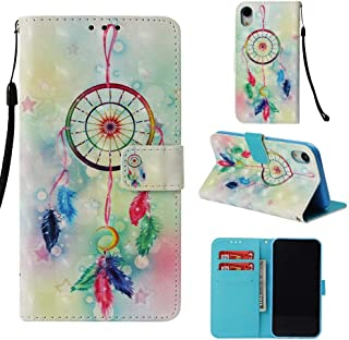 Case for iPhone Xr,Pu-Leather [Kickstand] Shockproof Wallet Case Inner Soft TPU Bumper Durable Slim Card Holder with Magnetic Closure & Wrist Strap Compatible with Apple iPhone Xr -Dreamcatcher
