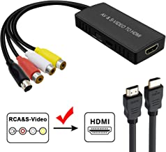 Svideo to HDMI Converter, PS2 HDMI Adapter, AV to HDMI Adapter Support 1080P, PAL/NTSC Compatible with WII, WII U, PS one, PS2, PS3, STB, Xbox, VHS, VCR, Blue-Ray DVD Players