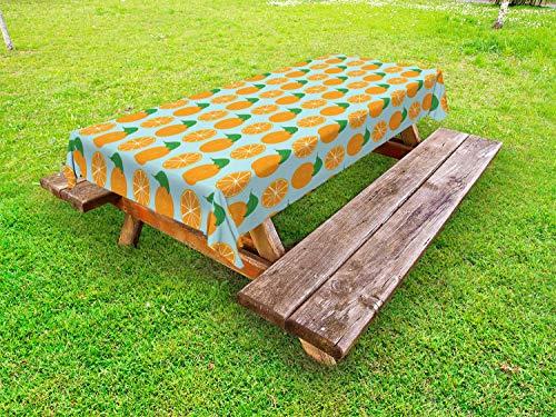 ABAKUHAUS Oranje Tafelkleed voor Buitengebruik, Vitamine C Half gesneden fruit, Decoratief Wasbaar Tafelkleed voor Picknicktafel, 58 x 120 cm, Pale Blue en Oranje