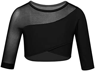 JEATHA Kids Girls 3/4 Sleeves Asymmetrical Mesh Splice Crop Top Ballet Dance Costumes Yoga Sports Gymnastic Workout