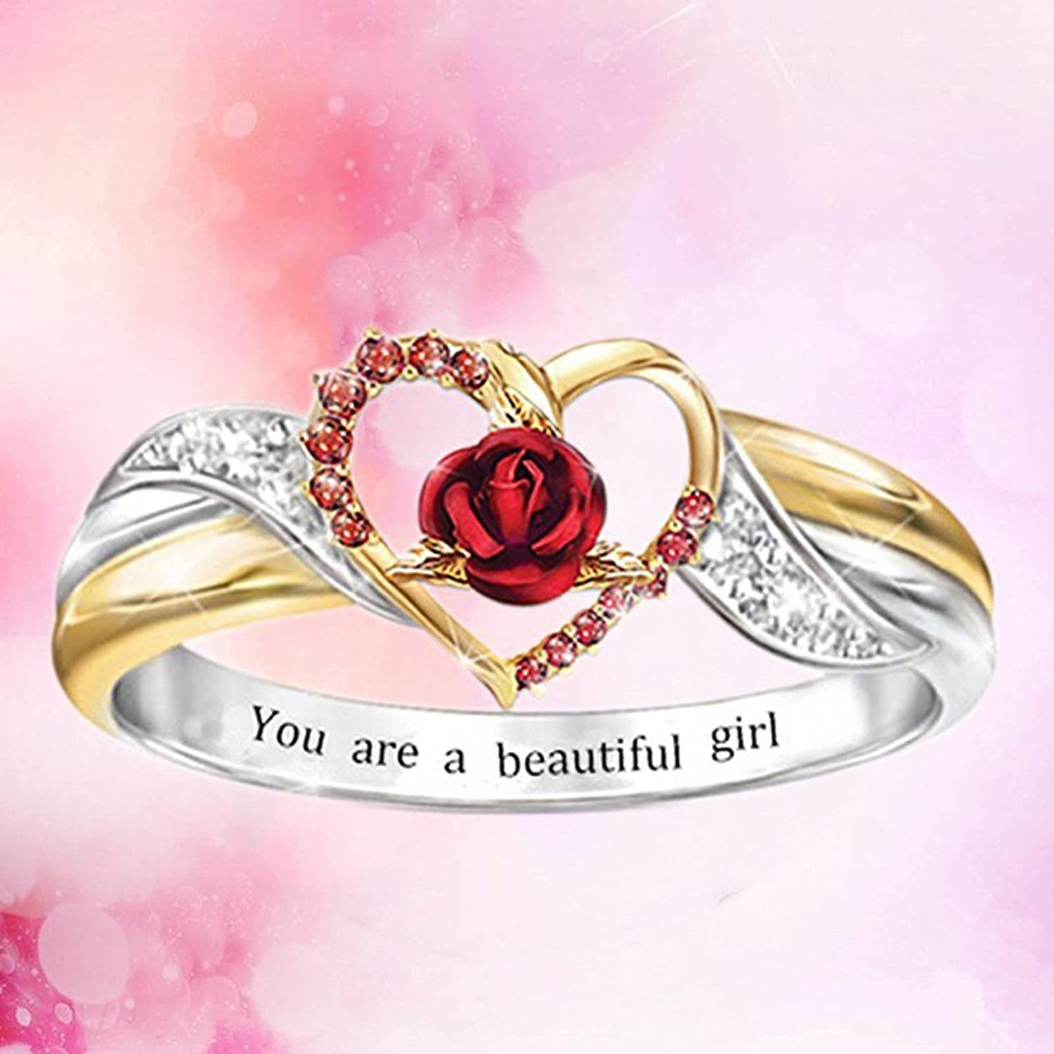 Rubyyouhe8 Stacking Rings for Women Women Ring Beautiful Nice-Looking Portable Women Exquisite Love Heart Rose Ring for Wedding Comfort Rings Hypoallergenic