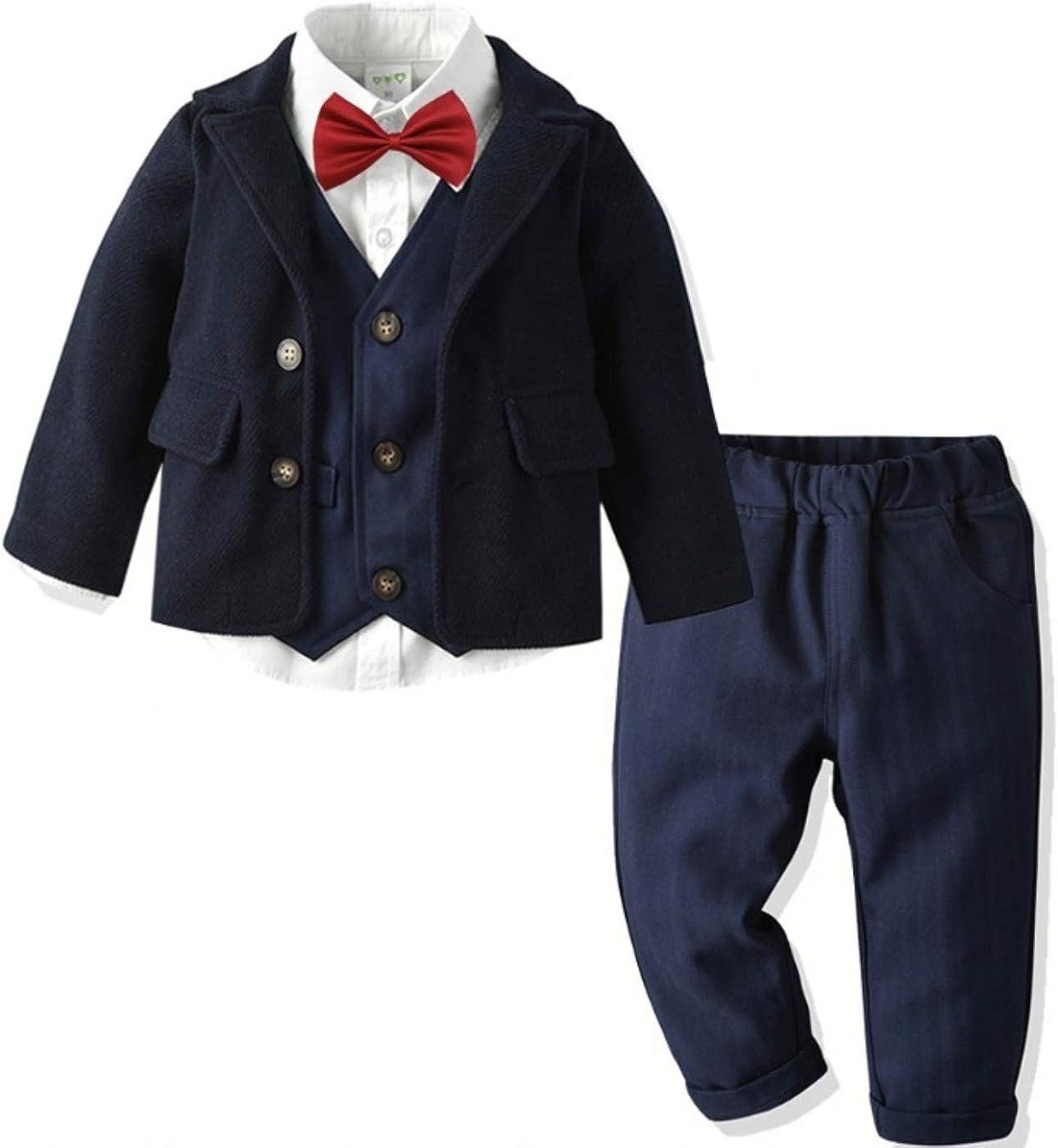 Little Boys Gentleman 5PC Clothes Outfit Set, Black Coat + White Shirt + Red Tie + Dark Blue Vest + Dark Blue Pants