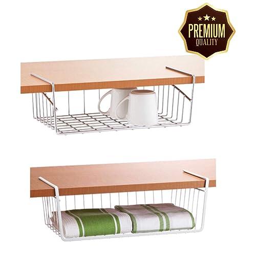 MoohMaya Desi Soch Stainless-Steel Wire Basket Under Cabinet Storage Organizer with Dual Fit Hook