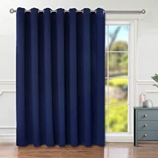 BGment Privacy Blackout Curtains for Sliding Glass Door, Grommet Thermal Insulated Darkening Room Divider Curtain for Living Room, 1 Panel (8.3ft Wide x 7ft Tall, Navy Blue)