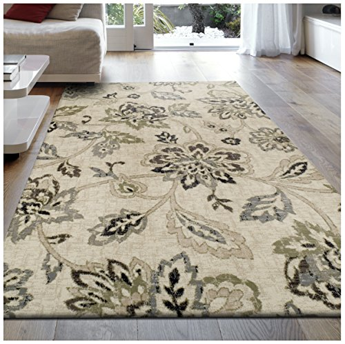 Superior 8mm Pile Height with Jute Backing, Beautiful Floral Pattern, Fashionable and Affordable Woven Rugs, 5' x 8' Rug,